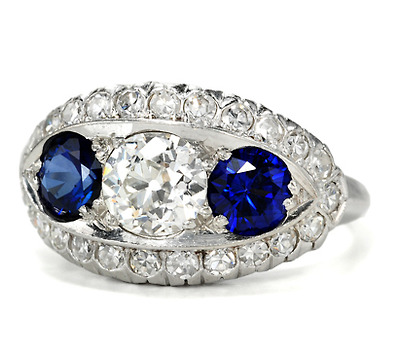 A Sultry Sky - Diamond Sapphire Estate Ring