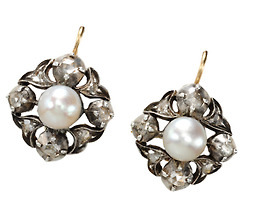 Georgian Gems: Pearl  Diamond Earrings