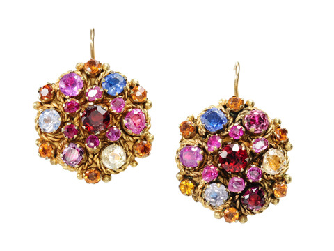 Silver Gilt Multi-Colored Gem Earrings