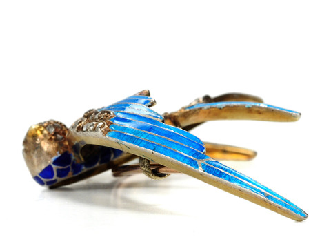 Victorian Diamond Enamel Swallow Brooch