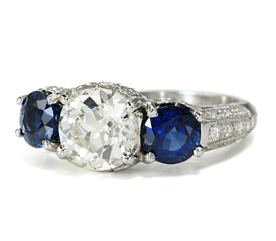 Classic Three Gem Platinum Ring