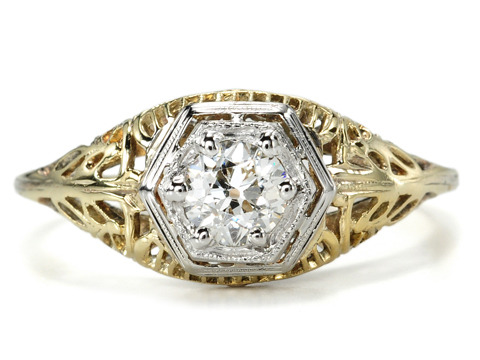 Golden Filigree Diamond Engagement Ring