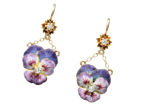 Antique Purple Pansy Enamel Earrings