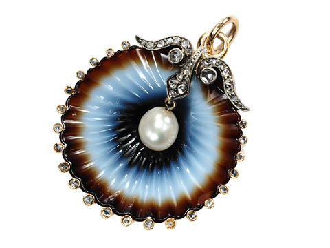Victorian Carved Agate & Pearl Brooch