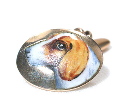 Antique Enamel & Gold Dog Cufflinks