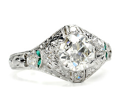 Gorgeous Diamond Emerald Platinum Ring of 1.18 c