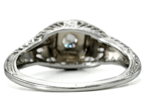 Mid 20th C. Diamond Filigree Engagement Ring