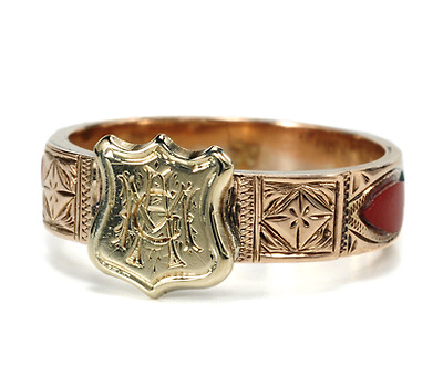 Antique Scottish Pebble Ring with Shield