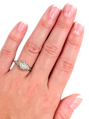 Sleek Art Deco Diamond Engagement Ring