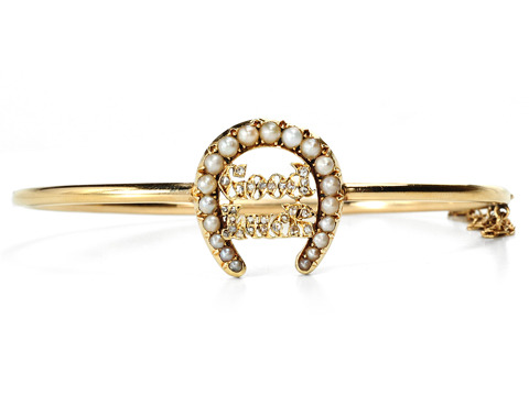 "Edwardian ""Good Luck"" Bangle Bracelet"