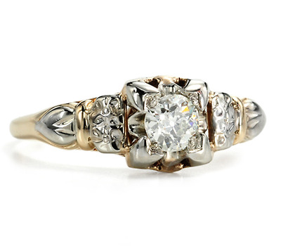 Art Deco White & Yellow Gold Diamond Ring