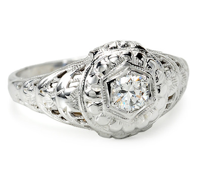 Petals of White - Vintage Diamond Engagement Ring