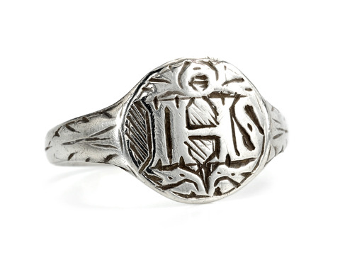 Antique IHS Silver Monogrammed Christian Ring