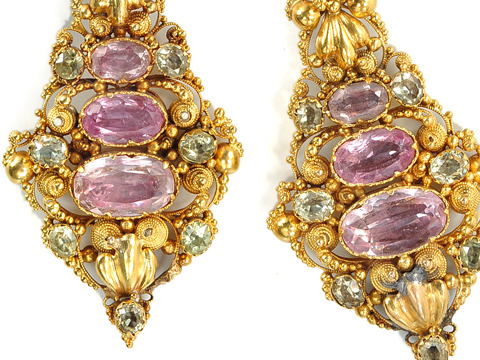 Antique Georgian Pink Topaz Chrysoberyl Earrings