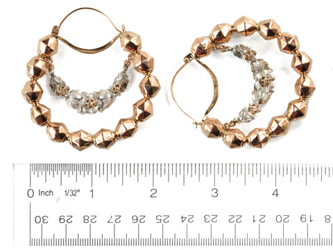 Splendid 18th C. Italian Diamond Hoop Earrings