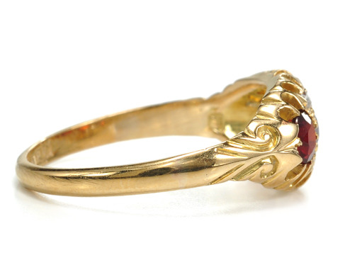 Diamonds Garnets & Gold in an Edwardian Ring