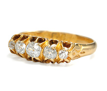 Five Diamonds in a Row: Edwardian 18k Gold Ring