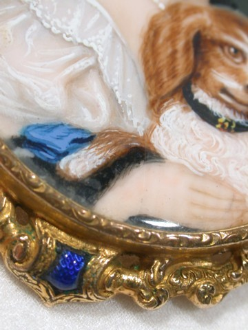 Portrait Miniature Brooch of a Girl & Dog