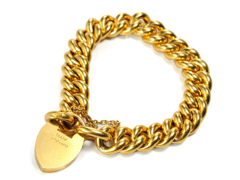 Edwardian Curb Chain Bracelet with Heart Clasp