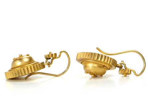 Etruscan Revival 15k Gold Earrings