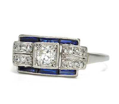 Art Deco Geometrics in a Diamond Sapphire Ring