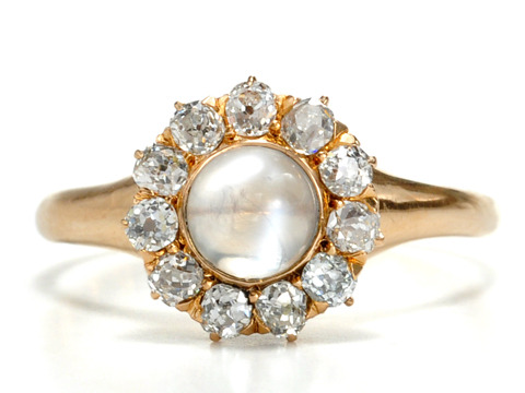 Moonbeams & Diamonds in an Edwardian Cluster Ring
