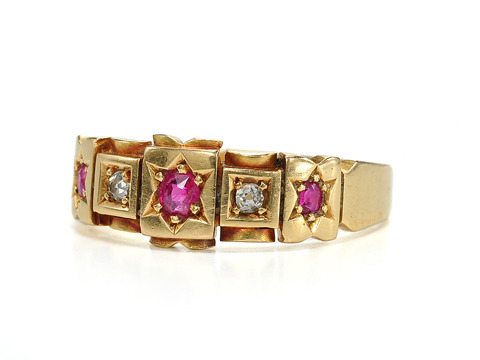 Antique 19th C. Ruby & Diamond Ring