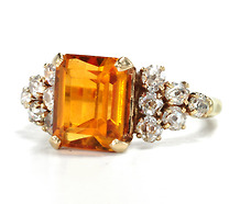 Marvelous Art Deco Citrine & Diamond Ring