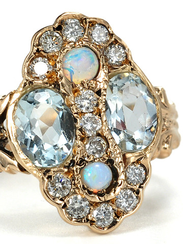 Aquamarine Opal & Diamond Cluster Ring