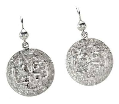 Victorian Embossed Silver Earrings