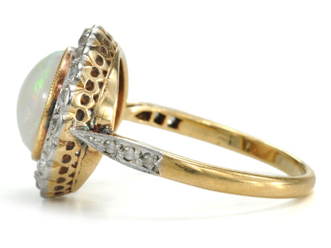 Essence of Vintage Edwardian in an Opal Diamond Ring