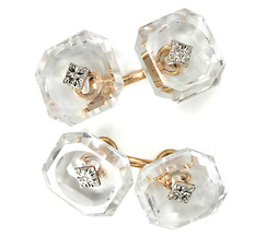 Signed Krementz & Co. Rock Crystal Cufflinks