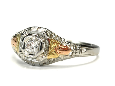 Unusual Art Deco Diamond Tricolor Gold Ring