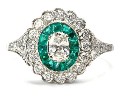 Bedazzling Diamond Emerald Cluster Ring
