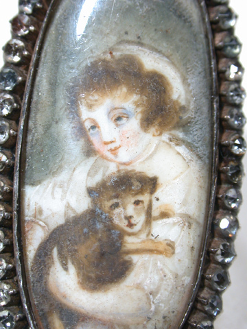 Georgian 18th C. Antique Portrait Ring with Dog