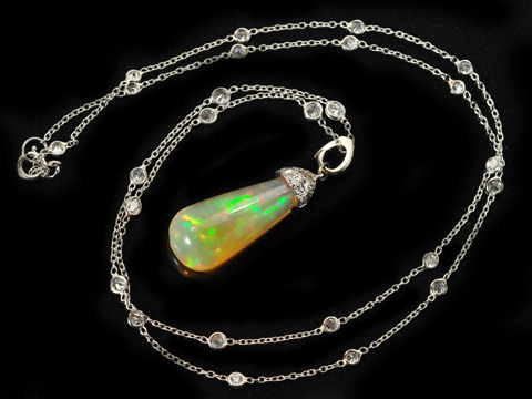 Opal Pendant & Diamond Platinum Chain