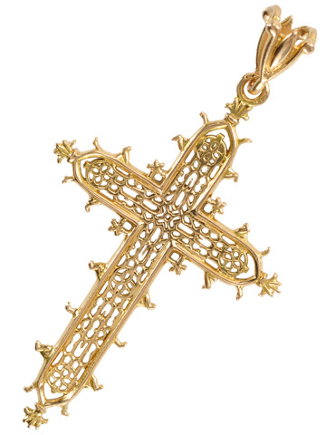 Gothic Cathedral in an Antique French Cross Pendant