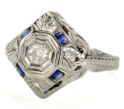 Belais Bros. Art Deco Diamond Sapphire Ring