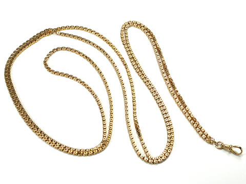 Edwardian Cubes of Gold Long Chain