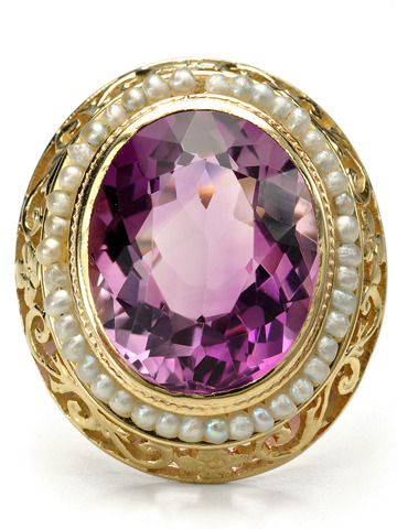 Seeded Vintage Beauty in an Amethyst Pearl Ring