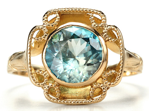 20th Century Blue Zircon Ring