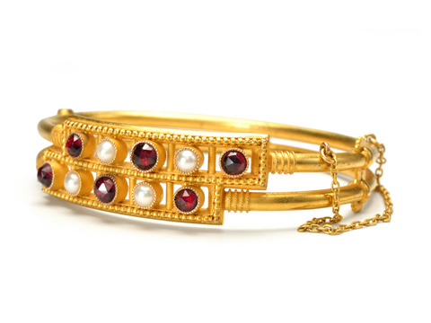 Archaeological Revival Garnet & Pearl Bangle