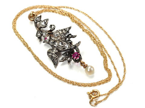 Antique Diamond and Ruby Bird Pendant