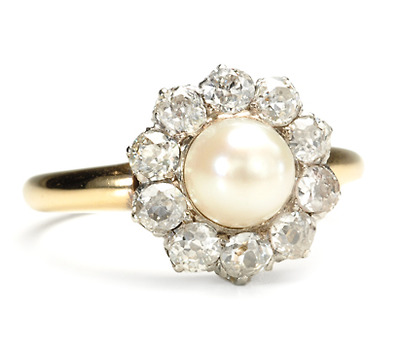 Art Deco 1920s Pearl & Diamond Cluster Ring
