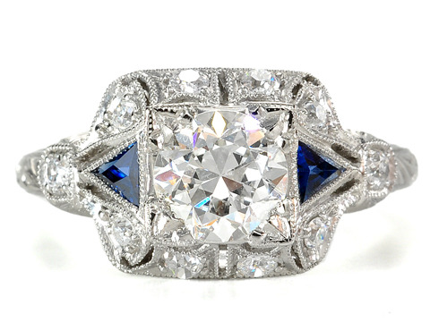 Sapphire & 1 c. Diamond Platinum Engagement Ring
