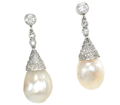 Antique Natural Pearl & Diamond Earrings