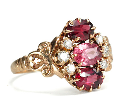 Victorian Panache: Diamond Tourmaline & Garnet Ring