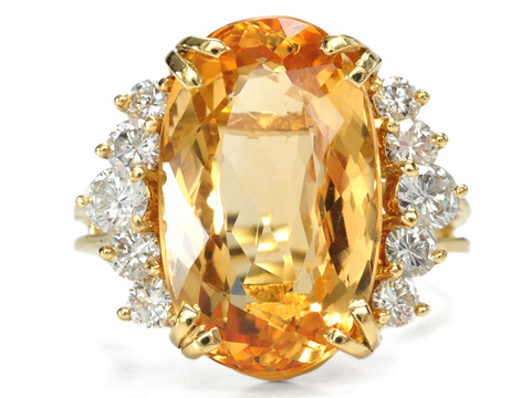 Honey Infused Topaz Diamond Ring