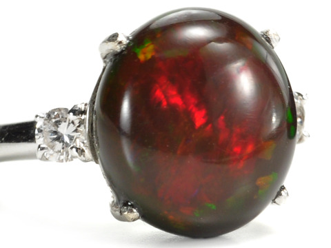 Exotic Ethiopian Chocolate Opal & Diamond Ring