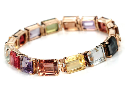 Panorama of Color in a Gem Link Bracelet